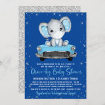 Elephant Blue Car Covid Drive By Baby Shower Invitation