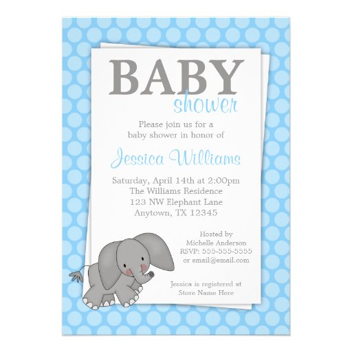 elephant blue dots baby shower invitations zazzle