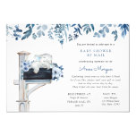 Elephant Blue Flowers Baby Shower by Mail Invitation