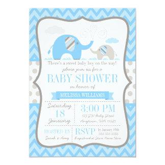 Elephant Blue Gray Baby Shower Card