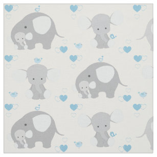 Elephant Blue Gray Safari Animals Nursery Baby Boy Fabric