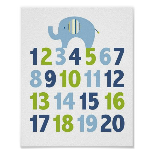 Elephant Blue Green Number Nursery Wall Print