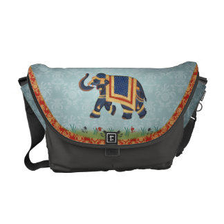 Elephant blue grey red gold Messenger Bag