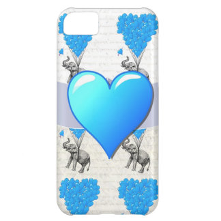 Elephant & blue heart balloons cover for iPhone 5C