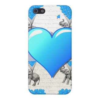Elephant & blue heart balloons cover for iPhone SE/5/5s