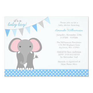 Elephant Blue Polka Dot Banner Boy Baby Shower 5x7 Paper Invitation Card