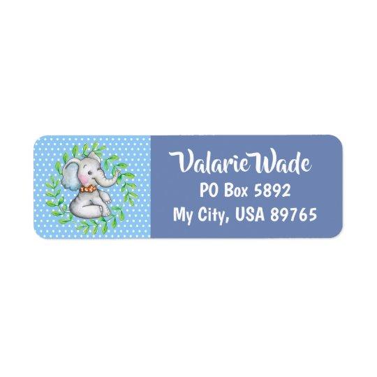 elephant blue polka dot mailing labels zazzle com