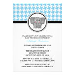 Elephant Blue & White Houndstooth Baby Shower Invitations