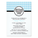 Elephant Blue & White Houndstooth Baby Shower Invitations