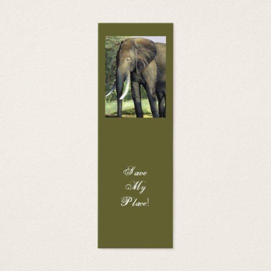 Elephant bookmark Save My Place! Mini Business Card