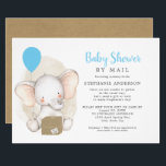 "Elephant Boy Baby Shower by Mail Invitation<br><div class=""desc"">Cute elephant with balloon and shipping box boy Baby Shower by Mail invitation. You can ask the guests to ship their gifts directly to the mom-to-be, or ask the guests to ship their gifts to a ""host"" who lives near the guest of honor, or you can have an unwrapped baby...</div>"