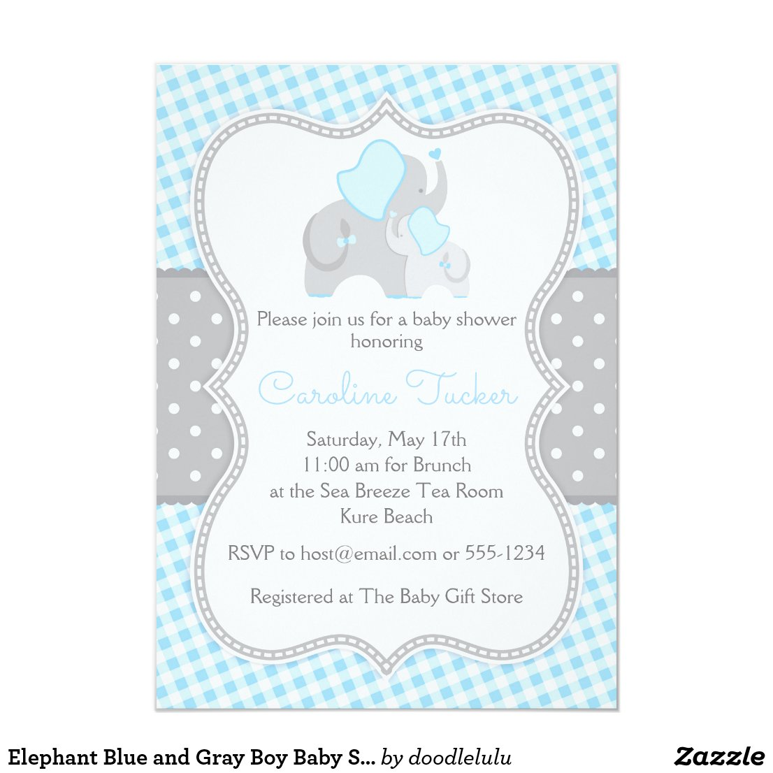 Elephant Boy Baby Shower Invitation Blue and Gray