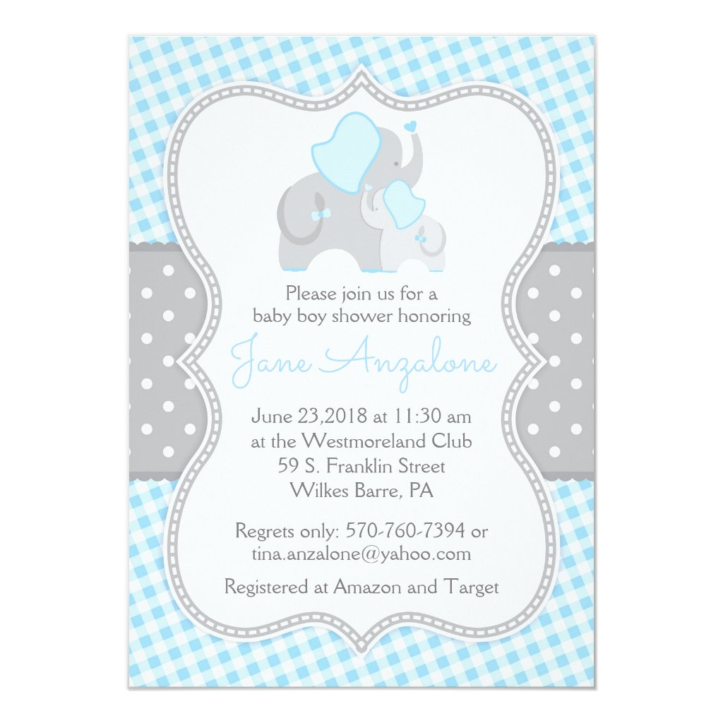 Elephant Boy Baby Shower Invitation - Tina