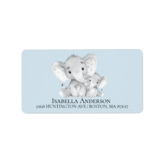 Elephant Boys Baby Shower Address Label