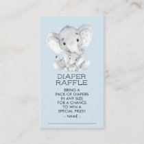 Elephant Boys Baby Shower Diaper Raffle Ticket Enclosure Card