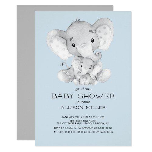 Elephant Boys baby Shower Invitation