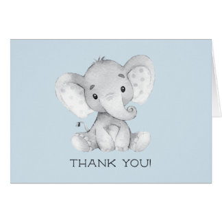 Elephant Boys Baby Shower Thank You Note Card
