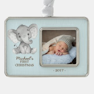 Elephant Boys Babys First Christmas Photo Ornament