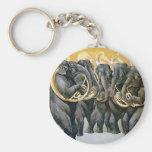 Elephant Brass Band Basic Round Button Keychain