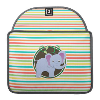 Elephant; Bright Rainbow Stripes MacBook Pro Sleeve