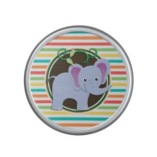 Elephant; Bright Rainbow Stripes Speaker
