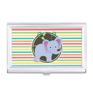 Elephant; Bright Rainbow Stripes Case For Business Cards