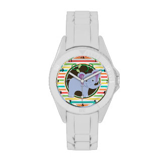 Elephant; Bright Rainbow Stripes Wrist Watch
