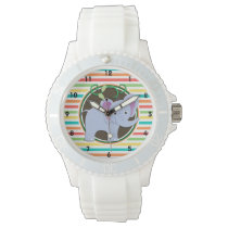 Elephant; Bright Rainbow Stripes Wristwatch