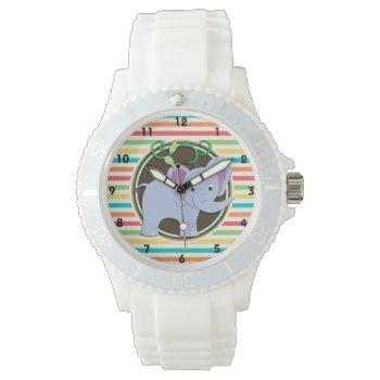 Elephant; Bright Rainbow Stripes Wristwatch by doozydoodles at Zazzle
