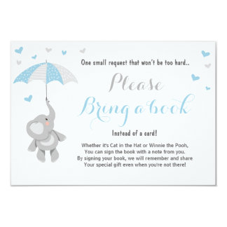 Elephant Bring a Book Card Blue Boy Baby Shower