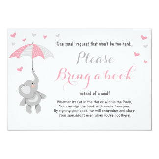 Elephant Bring a Book Card Pink Girl Baby Shower