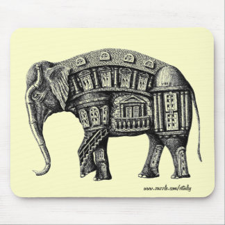 Elephant Building pen ink black and white drawing Mouse Pad