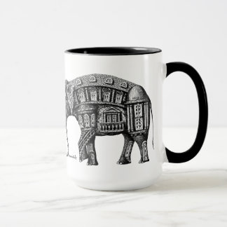 Elephant Building pen ink drawing Mug