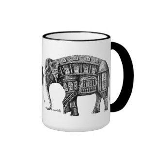 Elephant Building pen ink drawing Coffee Mugs