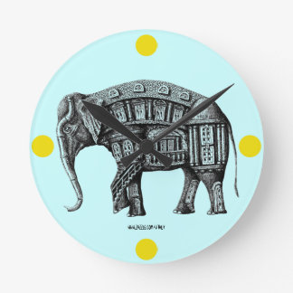 Elephant Building pen ink drawing Round Clock