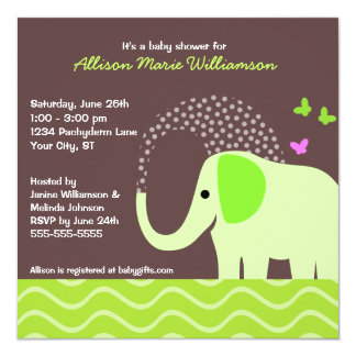 "Elephant & Butterflies Baby Shower 5.25"" Square Invitation Card"