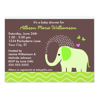 "Elephant & Butterflies Baby Shower 5.5"" X 7.5"" Invitation Card"