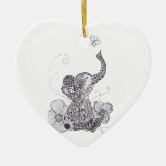 Elephant Butterfly Ceramic Ornament