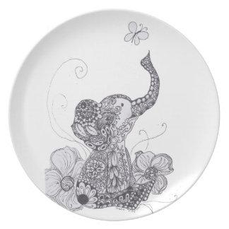 Elephant Butterfly Dinner Plate