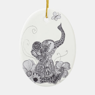Elephant Butterfly Double-Sided Oval Ceramic Christmas Ornament