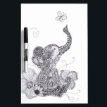 "Elephant Butterfly Dry Erase Board<br><div class=""desc"">This design features a of an elephant playing with a butterfly. Original art,  hand drawn with pen and ink medium. This brings about warmth and whimsy along with unique characteristics in each design. Inconsistencies are true to the work crafted in Freehand Style.</div>"