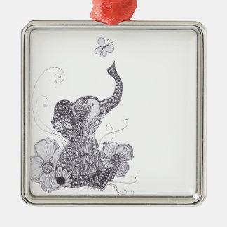 Elephant Butterfly Metal Ornament