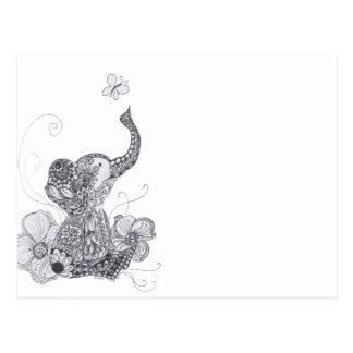 Elephant Butterfly Postcard