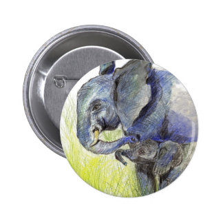 Elephant Calf and Mother, watercolor pencil Button