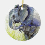 Elephant Calf and Mother, watercolor pencil Ornaments