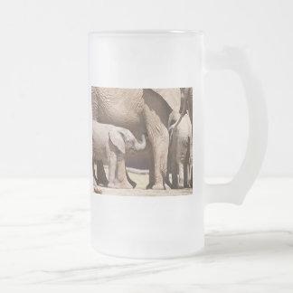 Elephant calf frosted glass beer mug