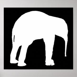 Elephant Calf White Silhouette, Black Background Poster