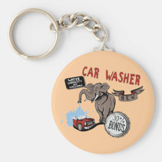 Elephant Car Washer - Funny New Invention Basic Round Button Keychain