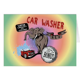 Elephant Car Washer - Funny New Invention Stationery Note Card