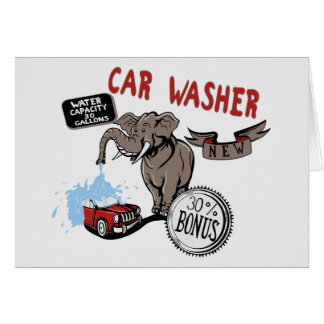 Elephant Car Washer - Funny New Invention Greeting Card